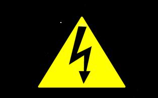 Осторожно! Электрическое напряжение. Предупреждающие плакаты и знаки безопасности. Молния